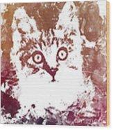 White Kitty Wood Print