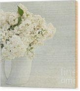 White Lilac In A Cream Jug Wood Print