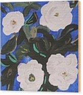 White Magnolias On Deep Blue Wood Print