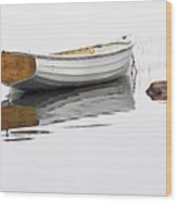 White Maine Boat On A Foggy Morning Wood Print
