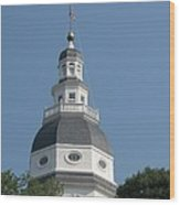 White Maryland State House Cupola Against Blue - Annapolis Wood Print