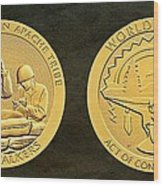 White Mountain Apache Tribe Code Talkers Bronze Medal Art Wood Print
