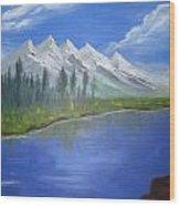White Mountains Wood Print by Haleema Nuredeen
