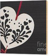 White On Black Wood Print