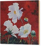 White On Red Poppies Wood Print