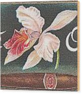White Orchid Cigar Label Wood Print