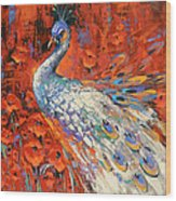 White Peacock And Poppies Wood Print