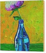White Peony Into A Blue Bottle Wood Print
