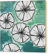 White Petunias- Floral Abstract Painting Wood Print
