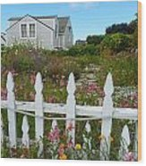 White Picket Fence In Mendocino Wood Print