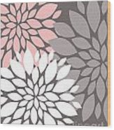 White Pink Gray Peony Flowers Wood Print