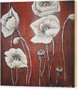White Poppies Wood Print by Elena  Constantinescu