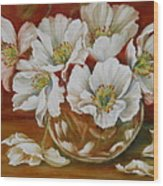 White Poppies Wood Print by Summer Celeste