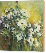 White Poppy Garden II Wood Print