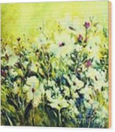White Poppy Garden Wood Print