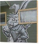 White Rabbit Wood Print by Lne Kirkes
