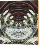 White Roses And Babys Breath Polar Coordinates Effect Wood Print