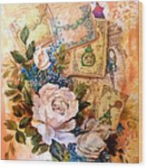 White Roses And Forget Me Nots On Decoupaged Background Wood Print