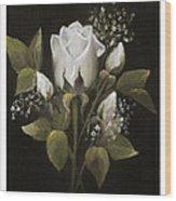 White Roses Wood Print by Nancy Edwards