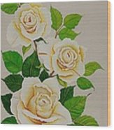 White Roses - Vertical Wood Print