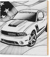 White Roush Mustang Wood Print