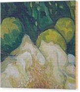 White Saguaro Petals Wood Print