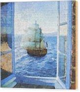White Sails Wood Print