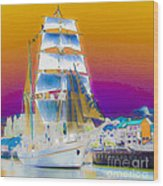 White Sails Ship And Colorful Background Wood Print