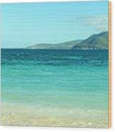 White Sand Blue Sky Blue Water Wood Print