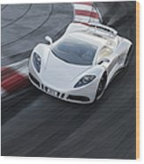 White Sports Car On A Racetrack Wood Print