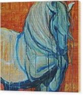White Stallion Wood Print by Jani Freimann