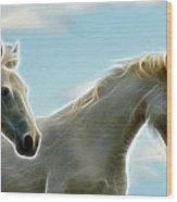 White Stallions Wood Print