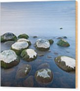 White Stones In The Water Wood Print by Anna Grigorjeva