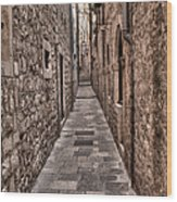 White Streets Of Dubrovnik No3 Wood Print