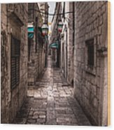 White Streets Of Dubrovnik No5 Wood Print