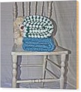 White Teddy And Chair Wood Print