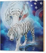 White Tiger Moon - Patriotic Wood Print