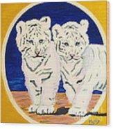 White Tiger Twins Wood Print