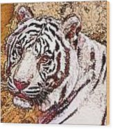 White Tiger Twist Wood Print