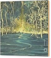 White Trees In The Blue Woods Wood Print by Stefan Duncan