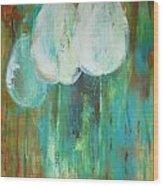 White Tulips On Green And Orange Wood Print