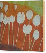 White Tulips On Orange Wood Print