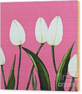 White Tulips On Pink Wood Print