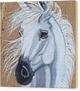 White Unicorn On Wood Wood Print