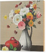 White Vase And Red Box Wood Print by Felix Elie Tobeen