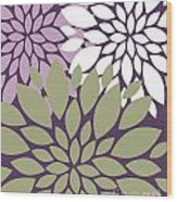 White Violet Green Peony Flowers Wood Print
