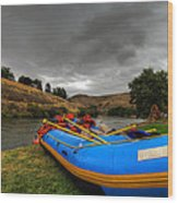 White Water Rafting Boat Wood Print