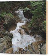 White Waters Over Granite Bolder Wood Print
