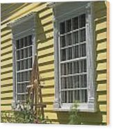 White Windows Yellow Wall Wood Print