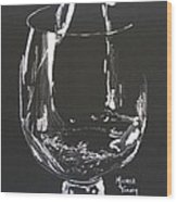 White Wine In Black And White Wood Print